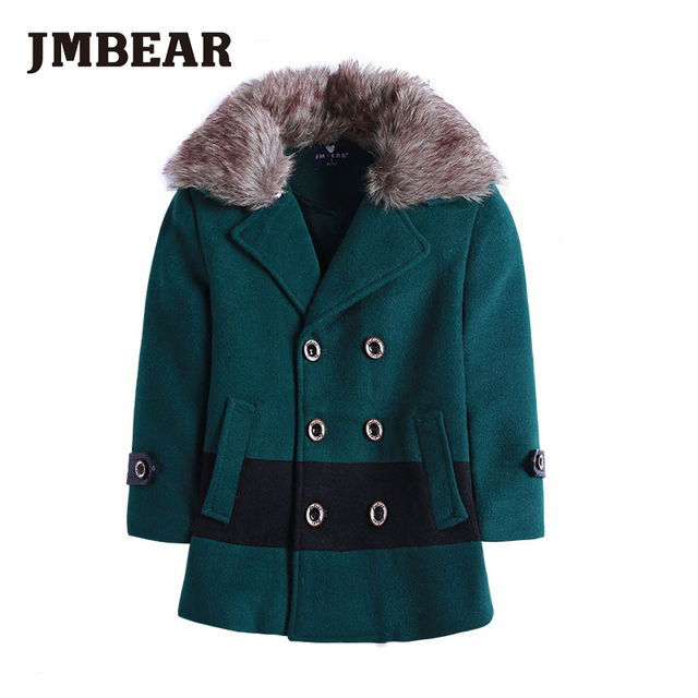JMBEAR boys woolen coat Faux Fur Fleece Children's clothing winter child outerwear woolen thickening jacket cotton-padded 2-6 Y