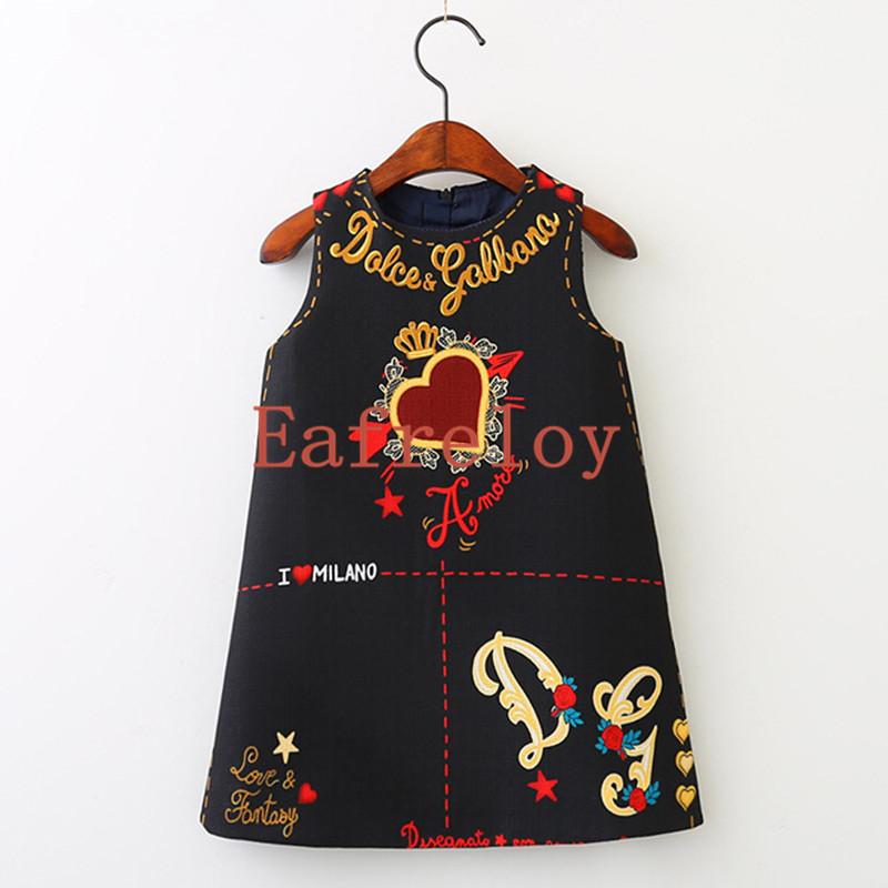 Eafreloy New Girls Dress Clothes European And America Style Cut Loves Stars Print Baby Girls Dress