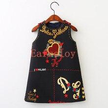 Eafreloy Nouvelles Filles Robe Vêtements Européenne Et L'amérique Style Cut Aime et Étoiles Imprimer Bébé Filles Robe Pour 3-9Y G83