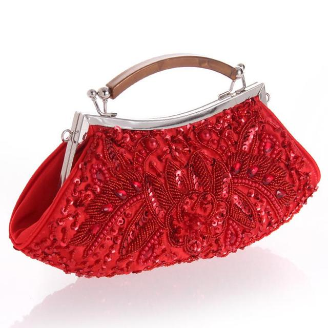 New Beaded Women Evening Bags Clutch Purse Wedding Bag Pearl