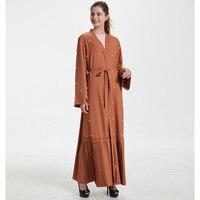 Abaya Dubai Kaftan Arab Islam Pleated Linen Beading Muslim Kimono Cardigan Hijab Dress Abayas For Women Turkish Islamic Clothing