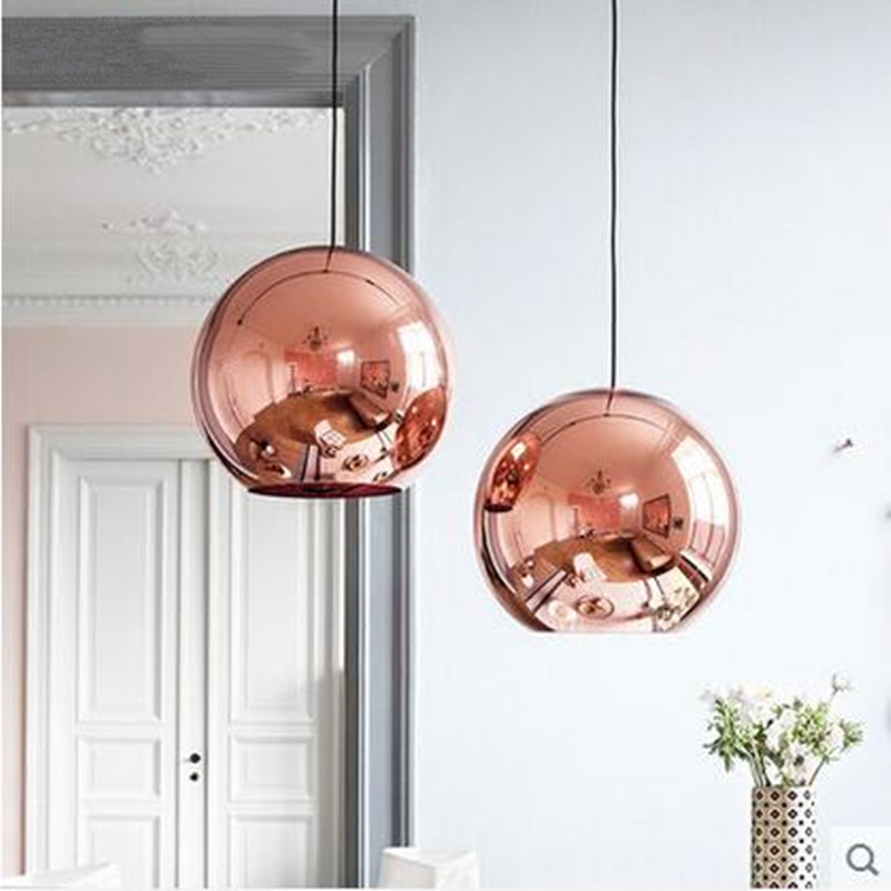 Modern pendant lamp Copper Mirror Ball glass DIA25 30 40CM indoor lightings LED lights living dining shop bar light Fixture meizu m3 note m681h touch screen 100