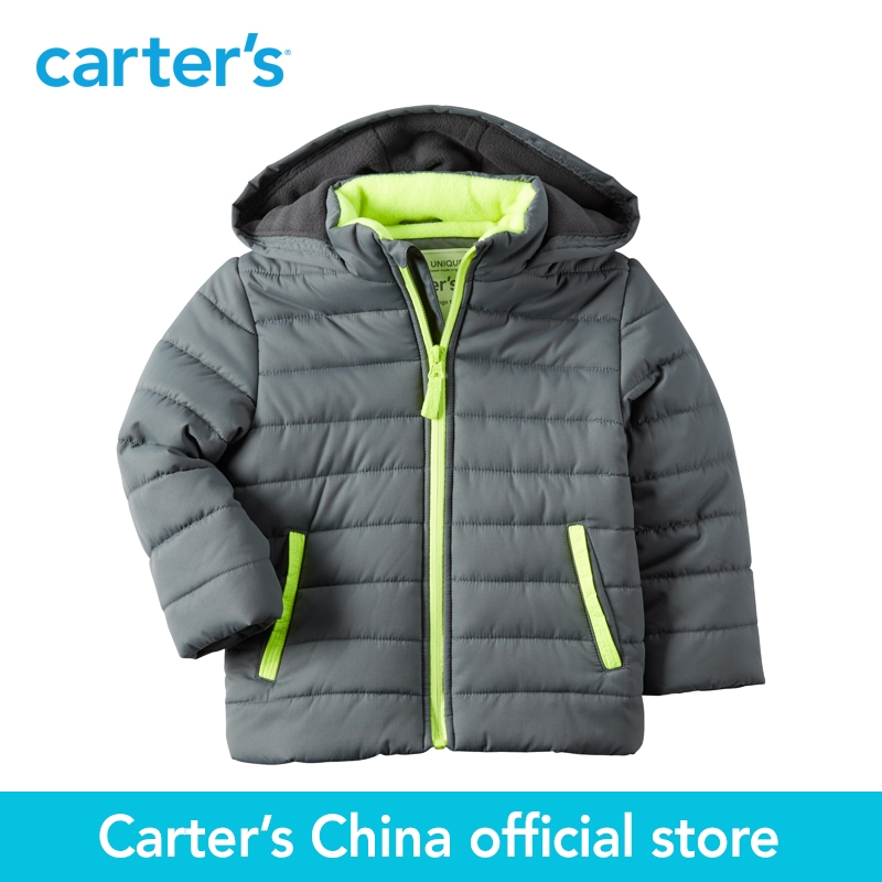 Carter's 1pcs baby children kids Fleece-Lined Puffer Jacket fall winter 100% polyester sherpa Fill boy clothing CL168291 fleece lined jacket with epaulet