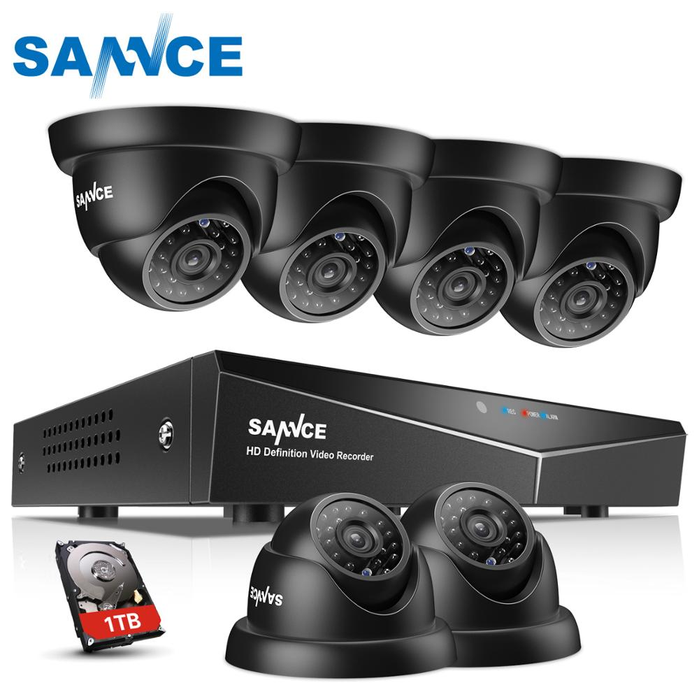 SANNCE 8CH 720P HD CCTV Camera Security System 5IN1 Video Recorder DVR 6PCS Waterproof Home Security