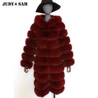 2017 Fashion Women Real Fox Fur Long Coat With Fur Hood Keep Warm Winter Outwear Fashion Fur Jacet Female Street Wear