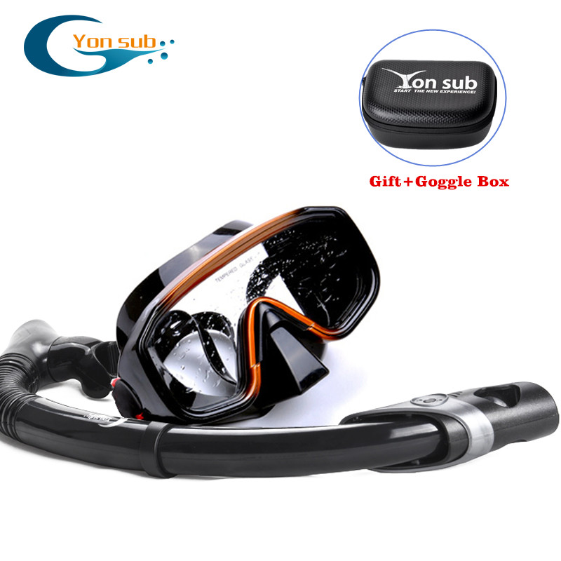 Masque de plongée sous-marine + tuba or noir masque anti-buée masque de plongée pour adultes