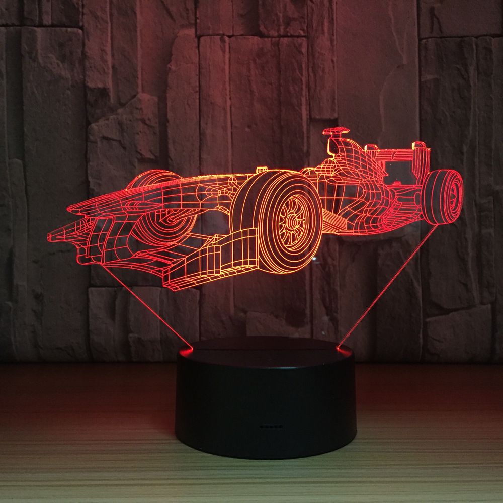 7 Colors Changing Led Night Light 3D F1 Racing Car Modelling Luminarias Modern Bedroom Atmosphere Desk Lamp Usb Decor Kids Gifts