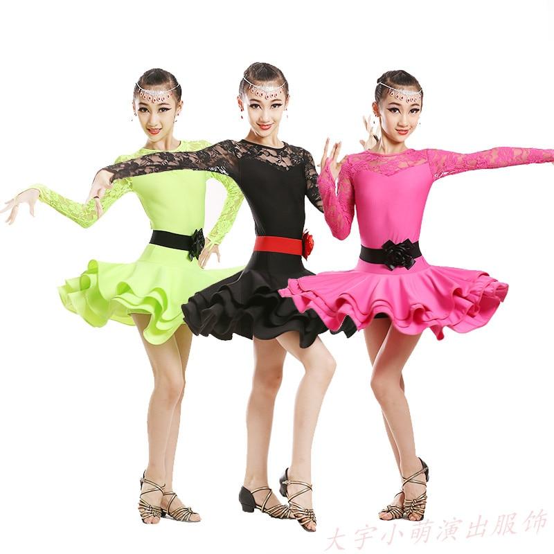 Children Ballet Dance Dress For Girls Cha-Cha Kid Competition Latin Dress Dancing Kids Girl Class Dancewear Kid Latin Costume