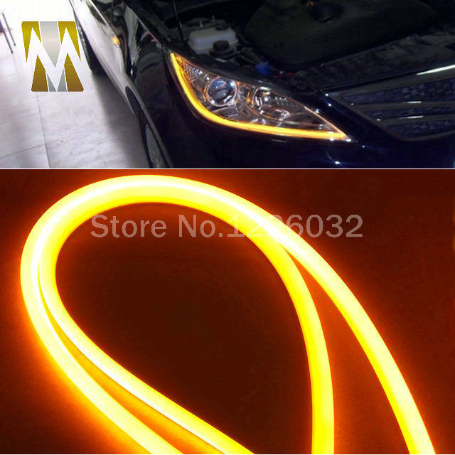 1 pair 60CM LED Flexible DRL Strip LED Daytime Running Lights With Turn Signal LED Tube Light White Yellow Switchback DRL light 2pcs 30cm angel eye daytime running light tube soft flexible car styling led strip drl white yellow blue red turn signal lights