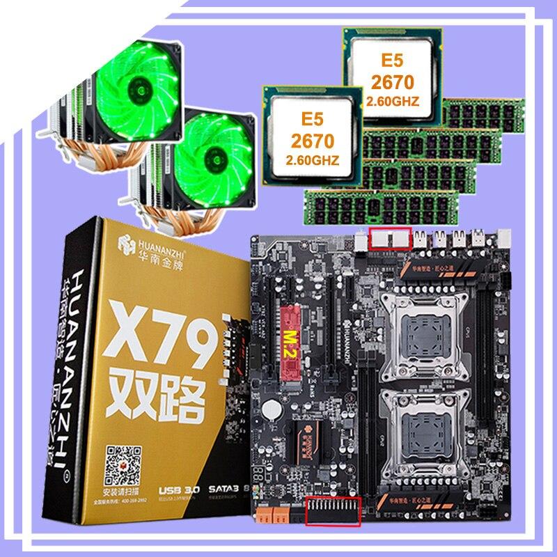 Remise bundle carte mère HUANANZHI double X79 carte mère avec M.2 fente double CPU Intel Xeon E5 2670 avec refroidisseurs RAM 64G (4*16G)