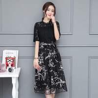 2019 summer hollow out Lace mesh dress Organza vintage print embroidery dress Flowero neck women dresses DR934