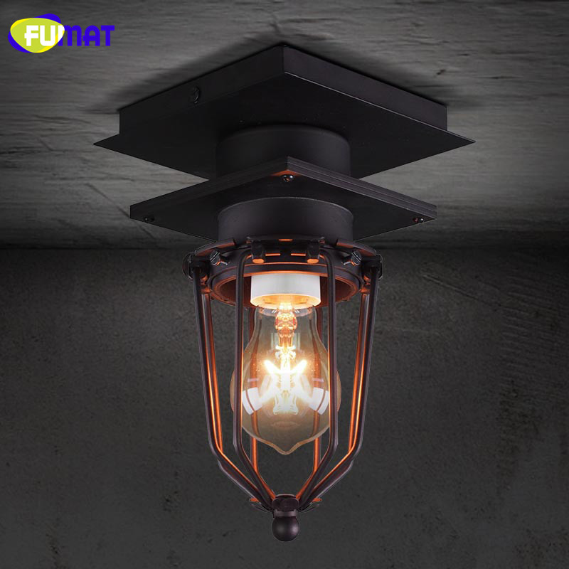 FUMAT American Industrial Retro Loft Iron Ceiling Lights Vintage Lamps For Living Room Iluminacion Ceiling Lighting Fixtures