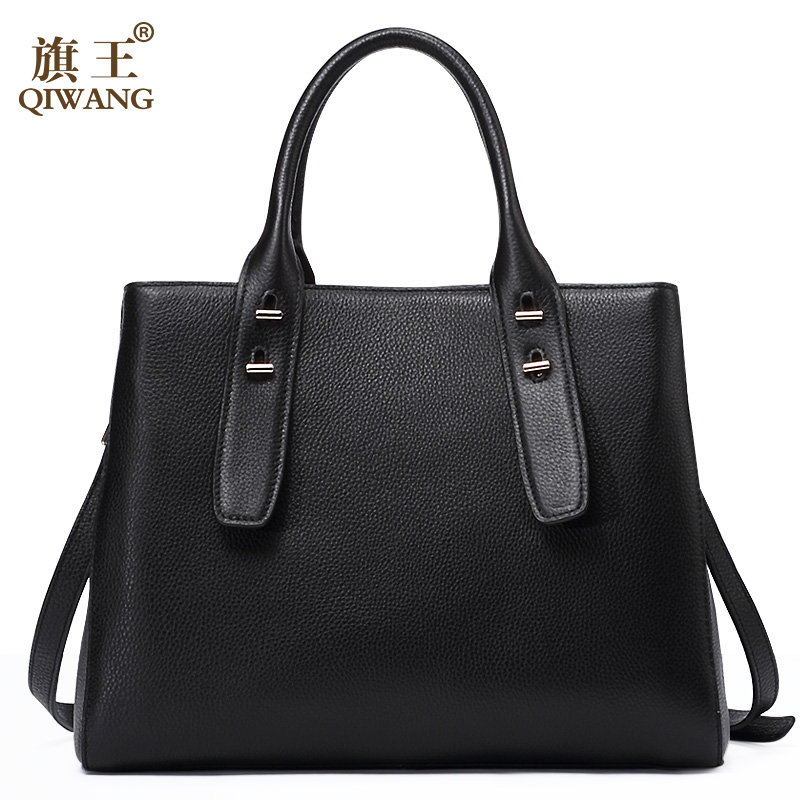 QIWANG Loved Vogue Black Genuine Leather Women Bag Elegant Famous Brand Quality Leather Handbags for Fashion Women Best Gift gl brand vogue 3colors jf0017