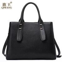 QIWANG Loved Vogue Black Genuine Leather Women Bag Top Shop Tote Bags Elegant Famous Brand Ladies