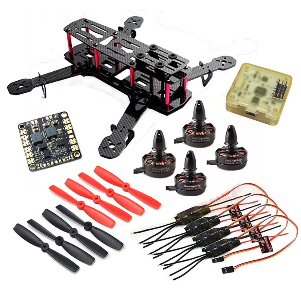 High Quality DIY QAV250 Carbon Quadcopter Original X2204S 2300KV Motor Simonk 12A ESC CC3D FC 5045 Props drone with camera rc plane qav 250 carbon frame f3 flight controller emax rs2205 2300kv motor fiber mini quadcopter