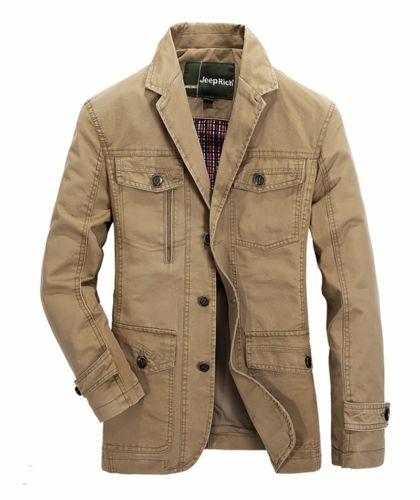 Mens Stylish Slim Lapel Military Coat Trench Coat Blazer Windbreaker Suit Jacket