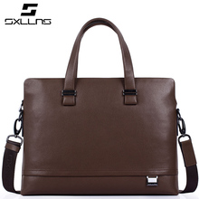 Business Casual Fashion Genuine Leather Blue Male Briefcase Design Large Capacity Famous Sxllns Brand Men Handbag Shoulder Bag