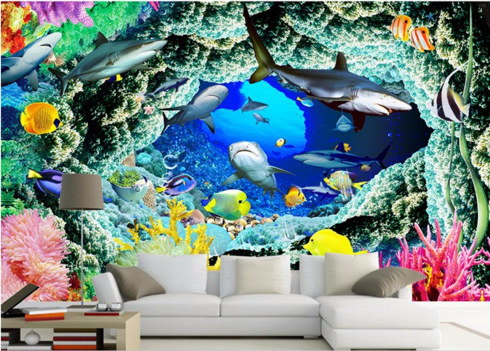 3d wallpaper custom photo mural sharks cave sea world 3d for Custom photo mural