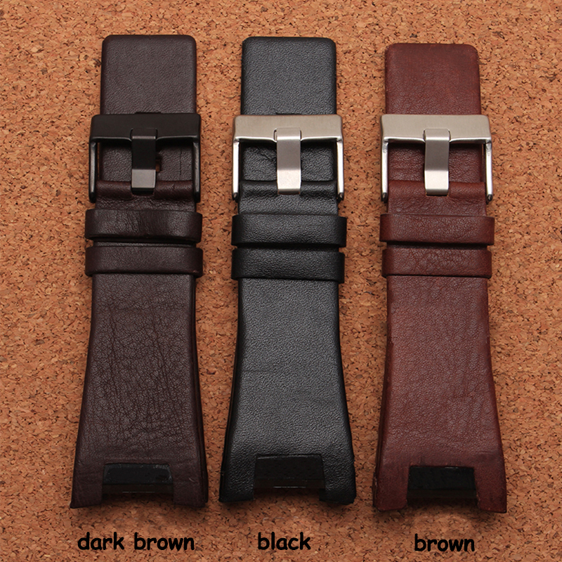 32*17mm Mens Watch Band Black Brown Genuine Leather Strap with Stainless Steel Buckle for DZ4246 DZ1273b Bracelet survival nylon bracelet brown