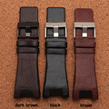 32*17mm Mens Watch Band Black Brown Genuine Leather Strap with Stainless Steel Buckle for DZ4246 DZ1273b Bracelet