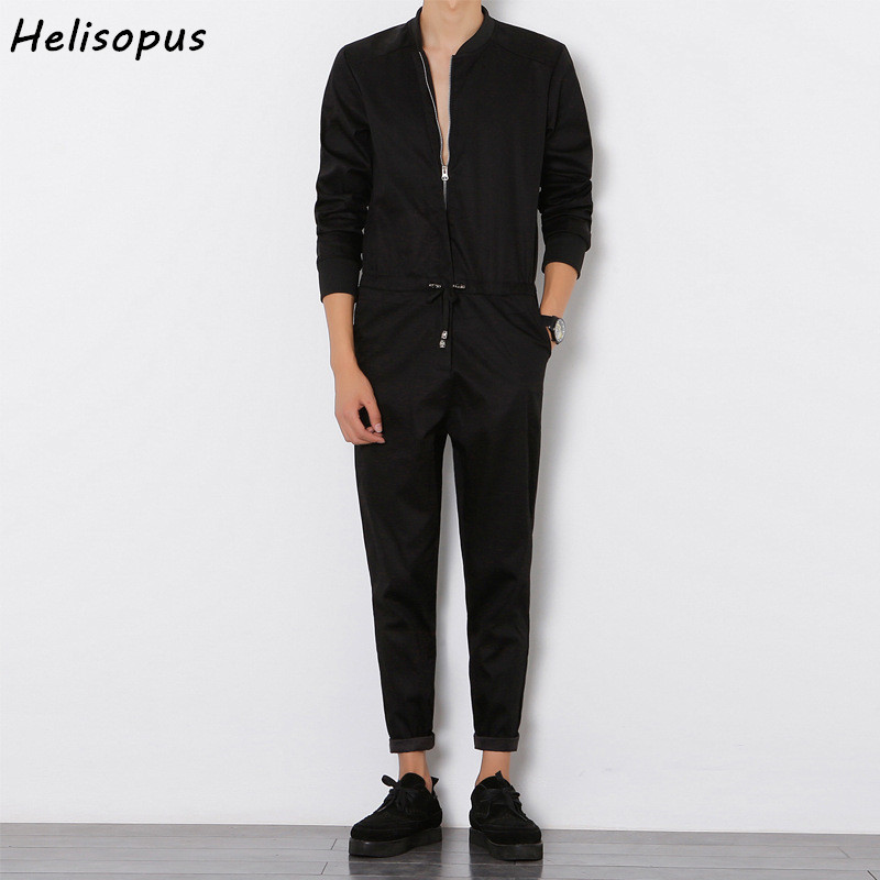 Helisopus 2020 Mens Overalls Rompers With Zipper Harem Bib Pants Male Long Sleeved One-Piece Skinny Black Jumpsuit Asian Size