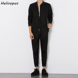 Image 1 - Helisopus 2020 Mens Overalls Rompers With Zipper Harem Bib Pants Male Long Sleeved One Piece Skinny Black Jumpsuit Asian size