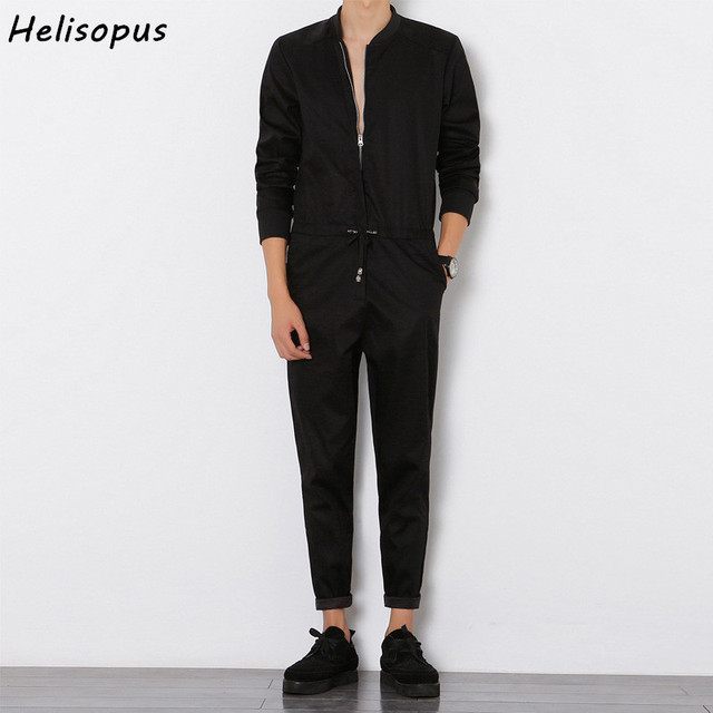 Helisopus 2020 Mens Overalls Rompers With Zipper Harem Bib Pants Male Long Sleeved One Piece Skinny Black Jumpsuit Asian size