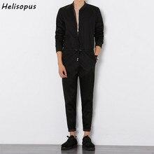 Helisopus 2020 męskie kombinezony pajacyki z zamkiem błyskawicznym Harem spodnie na szelkach męskie długi rękaw jednoczęściowy chudy czarny kombinezon rozmiar azjatycki
