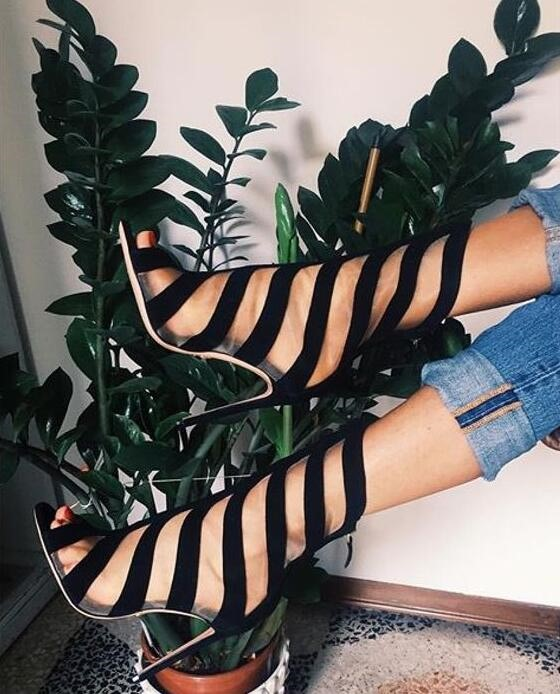 Black Straps Cross Women Sexy Peep Toe Boots Rome Style Ladies Fashion High Heel Boots Cutout Style Female Spring Dress Shoes