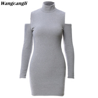Wangcangli 2017 Hot Sale Autumn Europe And America Style Grey And Black Solid O Neck Long