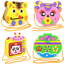 Multicolor EVA Foam Puzzles Bag Lovely Animals Children Handmade Bags DIY Crafts For Kids Interactive Educational Toys Gift
