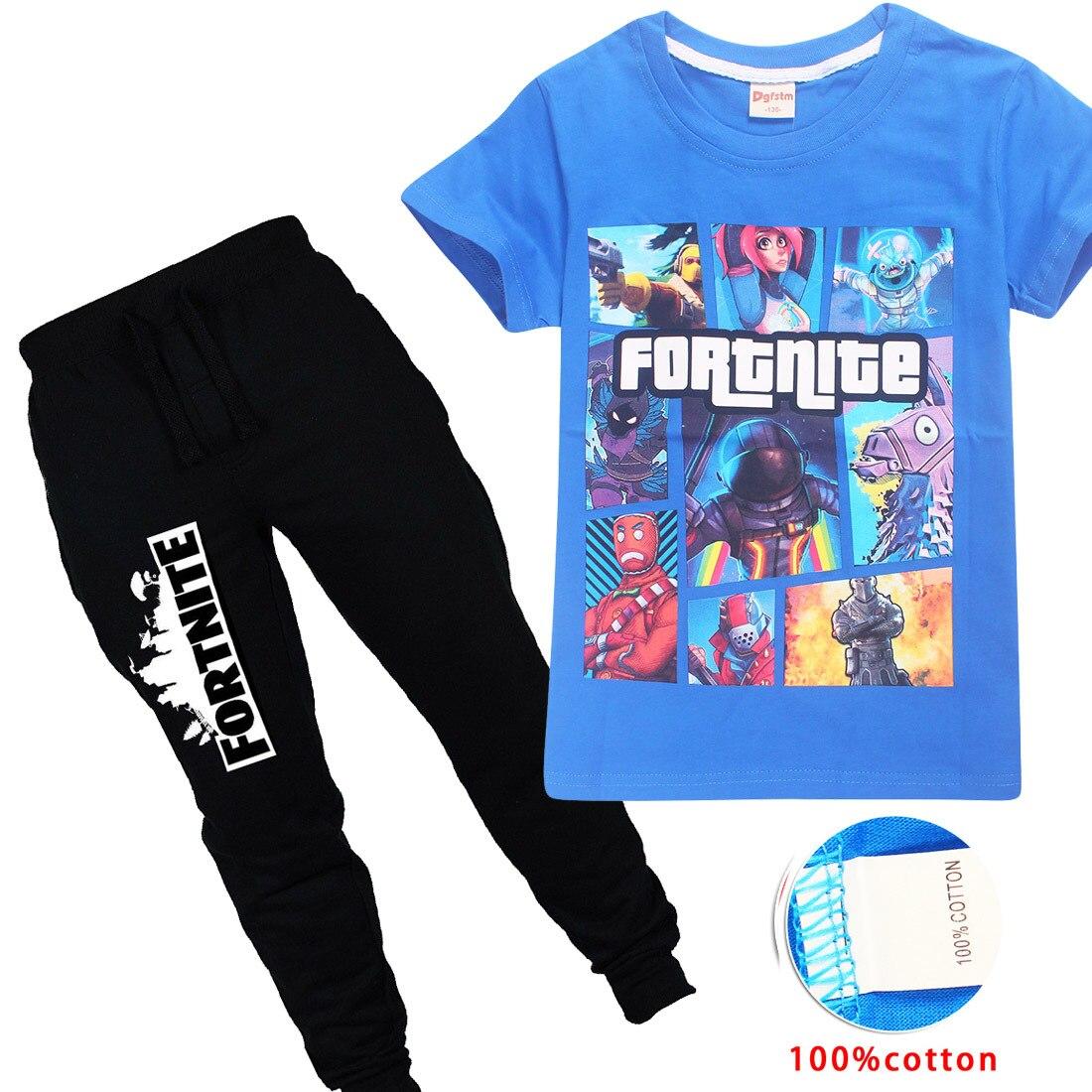 Участницы 6-14Years 2018 комплект повседневной одежды для детей Fortnite Для детей, на лето мальчиков Комплекты одежды Детские футболка для мальчиков...