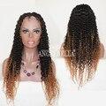 Angelbella peruana rizada rizada peluca de cabello humano 150% en dos tonos de pelo largo Ombre Peluca Del Frente Del Cordón Rizado Rizado Rizos Peluca de Encaje Suizo
