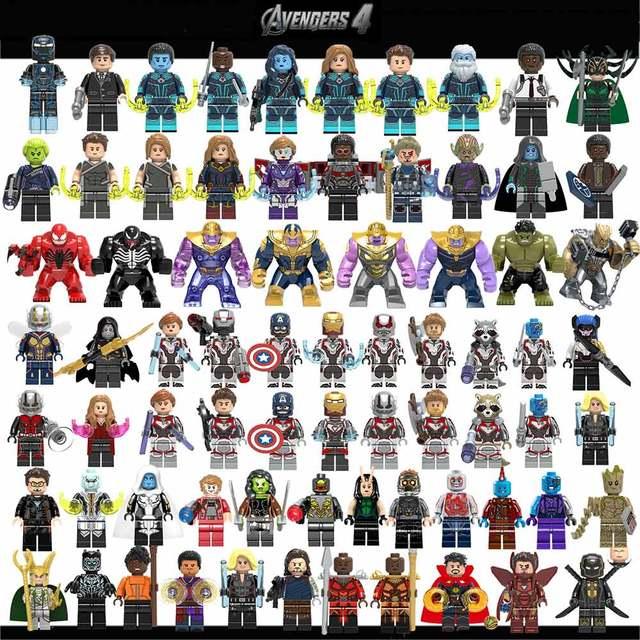 Legoed מארוול נוקמי 4 סוף המשחק קפטן אמריקה איש ברזל תאנסו האלק אבני בניין דמויות Ninja אופנוע צעצועים לילדים