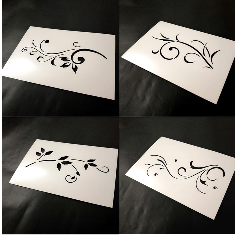 4pcs, Swirly Template Stencil,Modern Swirly Pattern For Chalk Paints,Acrylic Painting For Wood,Furniture,Crafts,gift Box