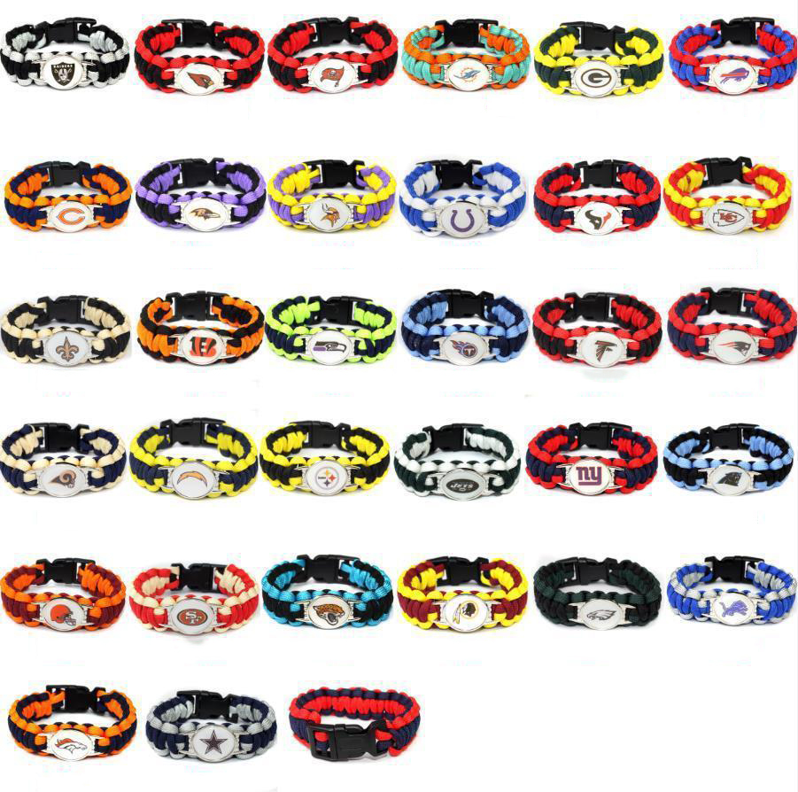Outdoor Emergency Paracord Hand Strap Football N-F-L US Team Umbrella Rope Wristband Bracelets Bracelet-Pick Team Gift