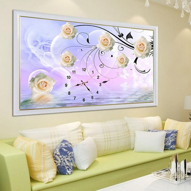 Diy diamond painting cross stitch clock full diamond embroidery home decoration wedding round drill yellow rose wall pictures