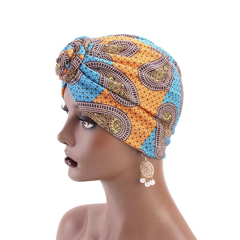 Muslim Women Turban hat African Pattern Knot Headwrap Fashion Warm Bandana Hats Hair Accessories in Women 39 s Hair Accessories from Apparel Accessories