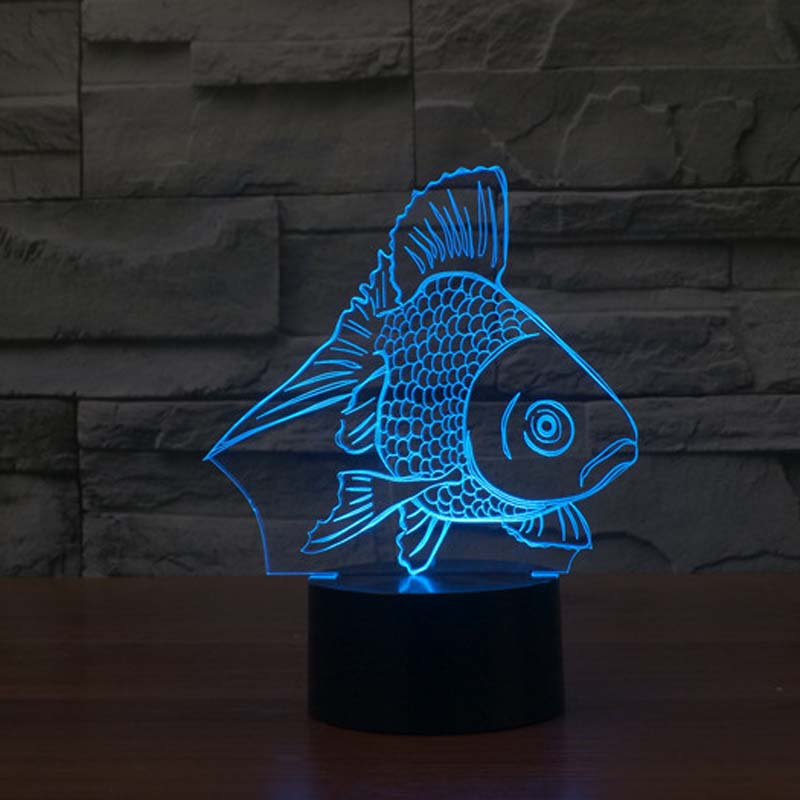 Goldfish Night Lighting USB Charge 7 Color Changing Night Light for Baby Room Decorative acrylic 7 color changing usb charge 3d