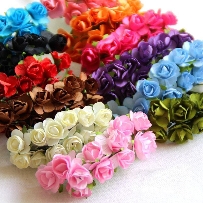 144pcs 2cm Mini Artificial Mulberry Paper Rose Flowers For Diy