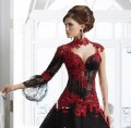 2016 Sexy High Neck Appliqued A line Black Wedding DressBlack And Red lace Bridal Gowns Long Sleeves Wedding Dresses GD103