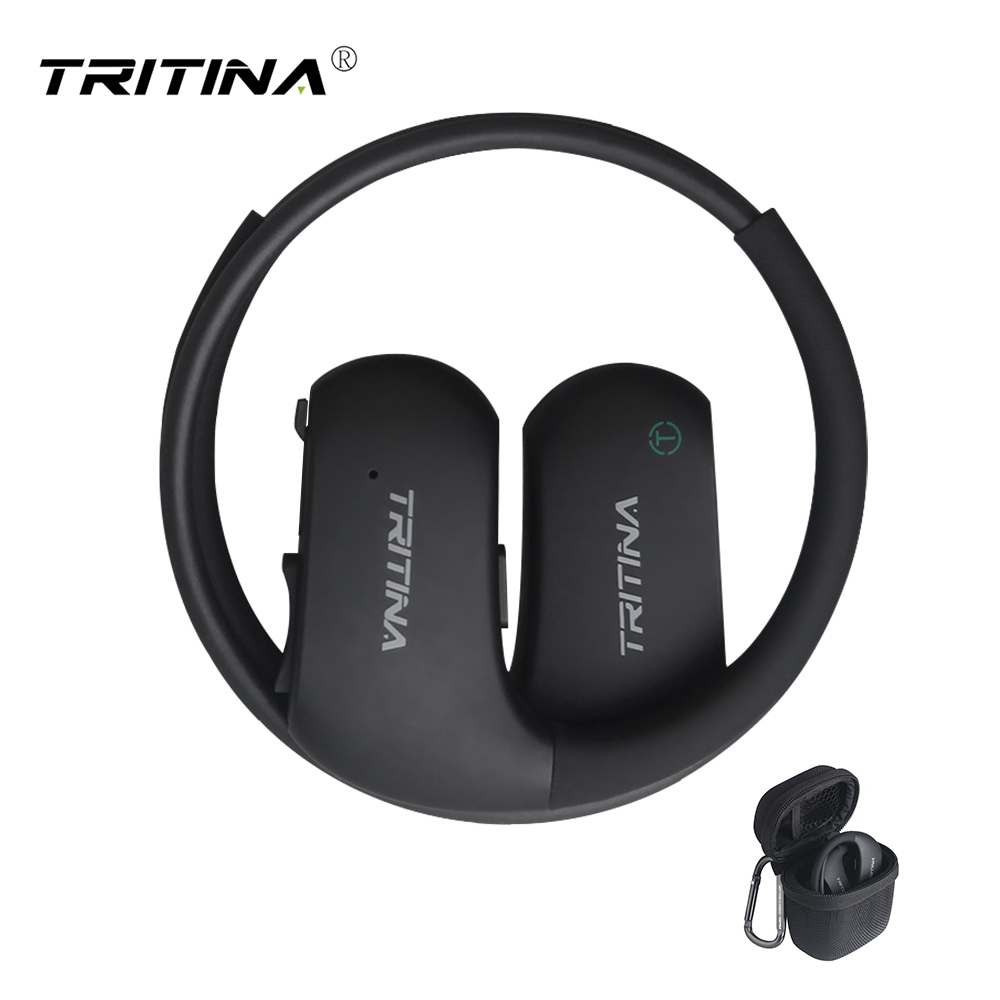 Tritina Bluetooth Sports Earbud W/ Comfort; Secure Fit waterproof IPX7 HD Stereo Earphone with Mic Up to 9 Hrs, Hard Shell Case