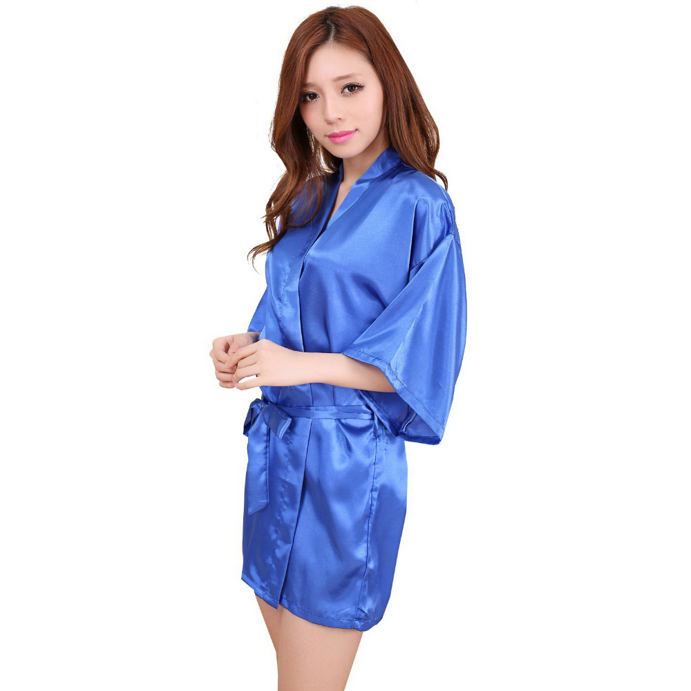 Satin Dressing Gown: Ladies Womens Solid Plain Rayon Silk Short Robe Pajama