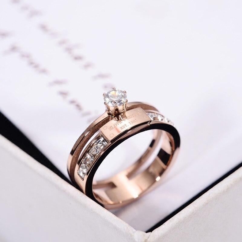 Yun ruo Rosa oro color señora anillo de boda ZIRCON inlay Love Forever Navidad regalo para mujer moda de acero de titanio joyería