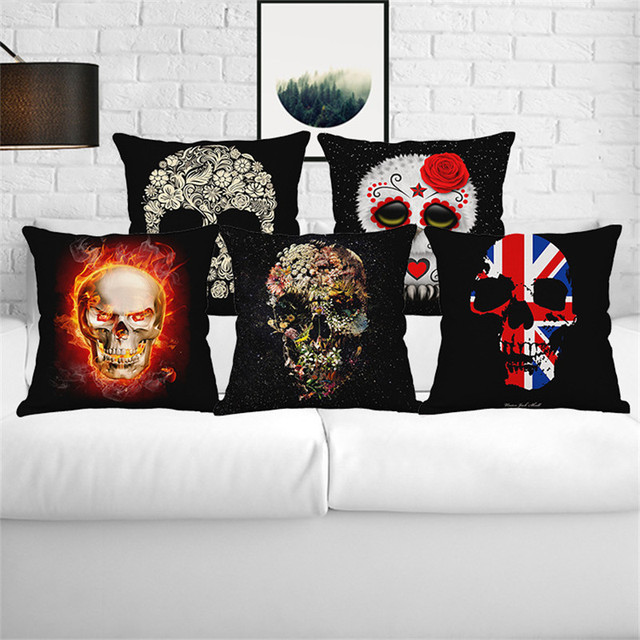 European Personality Skull Creative Flowers Wedding Gift Cushion Best Decorative Pillow Covers Wholesale
