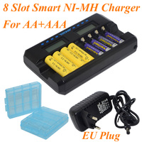 Новое поступление 2017 года andel 8 слотов умный ЖК-дисплей Зарядное устройство для Перезаряжаемые AA AAA NiMH ni-cd Батареи США/ЕС Plug черный-10000606