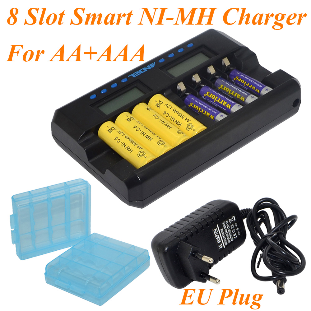 2017 New Arrival ANDEL 8 Slot Smart LCD Charger for Rechargeable AA AAA NIMH Ni-Cd Batteries US/EU PLUG Black-10000606 5 5 x 2cm lcd multifunctional intelligent digital 4 x aa aaa batteries charger black us plug