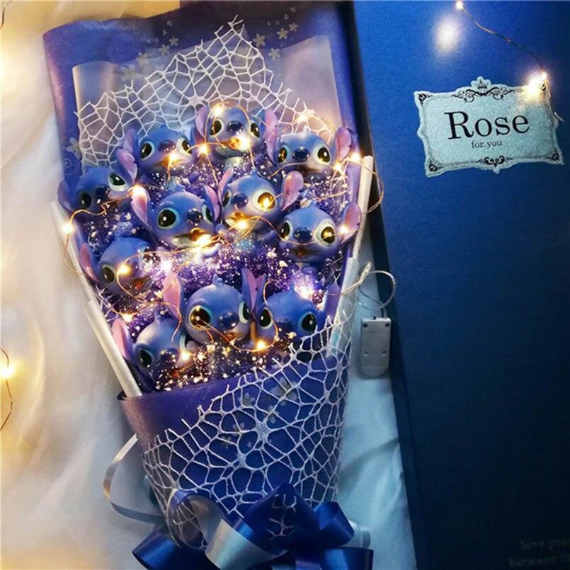Doux Point De Bouquet Peluche Animaux En Peluche Jouets Artificielle Kawaii de Bande Dessinée Faux Fleurs Cadeaux du Jour de Valentine De Mariage Décoration