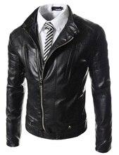 Neuheiten männer hohe qualität stehkragen schräge reißverschluss jacke männer casual fashion Slim Fit pu-leder jacke mantel