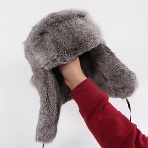 Image 5 - Nowy rosyjski zima Unisex prawdziwe królik futro bombowiec kapelusz mężczyźni ciepłe 100% naturalne futra królika kapelusze męskie pełna Pelt futro czapka z futra królika